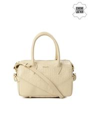 VIARI Beige Patterned Genuine Leather Handbag