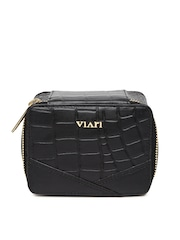 VIARI Women Black Leather Travel Pouch