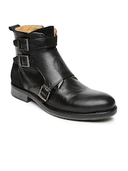 Alberto Torresi Men Black Textured High-Tops Flat Boots
