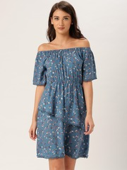 all about you Women Blue Printed Off-Shoulder Dress