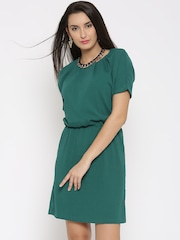 United Colors of Benetton Green Polyester Blouson Dress
