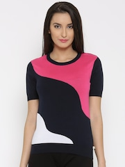 United Colors of Benetton Navy Colourblocked Sweater