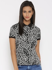 United Colors of Benetton Women Black Floral Print Polo T-Shirt