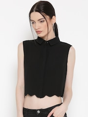 Silvian Heach Women Black Crop Casual Shirt