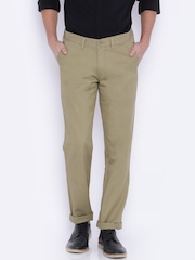 John Players Men Beige Slim Fit Chino Trousers