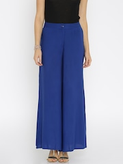 Global Desi Women Navy Solid Palazzo Trousers