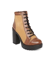 Knotty Derby Women Tan Brown Colourblocked Heeled Boots