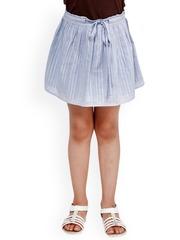 Oxolloxo Girls Blue Striped Flared Skirt