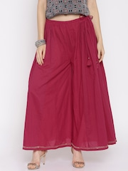 Fabindia Women Red Palazzo Trousers
