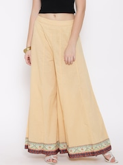 Fusion Beats Women Beige Solid Palazzo Trousers