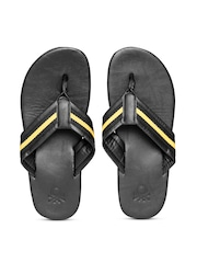 United Colors of Benetton Men Black & Yellow Striped Flip-Flops