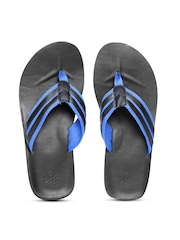 United Colors of Benetton Men Black & Blue Striped Flip-Flops