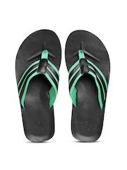 United Colors of Benetton Men Black & Green Striped Flip-Flops