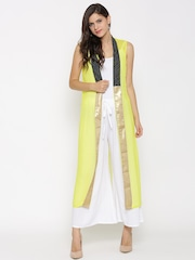 W Lime Green Sheer Longline Ethnic Jacket