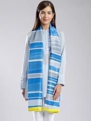 W Blue & Grey Striped Dupatta