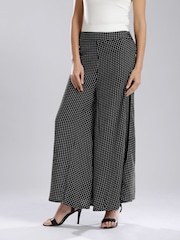W Women Black Polka Dot Print Palazzo Trousers