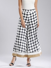 W Women Off-White & Charcoal Grey Printed Palazzo Trousers