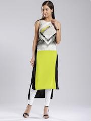 W Women Off-White & Lime Green Printed High-Low Kurta