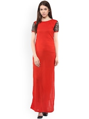 Athena Women Red Solid Maxi Dress