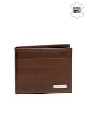 Tommy Hilfiger Men Brown Striped Genuine Leather Wallet