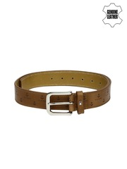 Tommy Hilfiger Men Tan Brown Printed Genuine Leather Belt