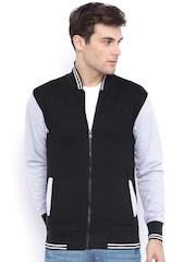 Campus Sutra Black & Grey Colourblocked Bomber Jacket