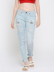 Moda Rapido Women Blue Skinny Fit Highly Distressed Jeans