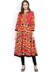 Prakhya Women Red Printed Anarkali Kurta