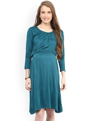 Mamacouture Women Teal Blue Solid Polyester Fit & Flare Maternity Dress