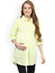 Mamacouture White & Yellow Printed Maternity Tunic