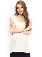 Mamacouture Women Beige Solid Polyester Maternity Top