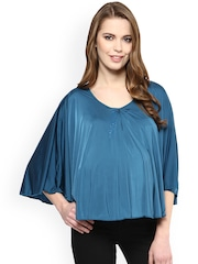 Mamacouture Women Teal Blue Solid Polyester Maternity Top