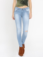 Roadster Women Blue Skinny Fit Mid-Rise Slash Knee Jeans
