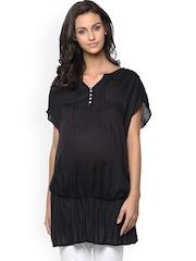 plusS Women Black Solid Maternity Top
