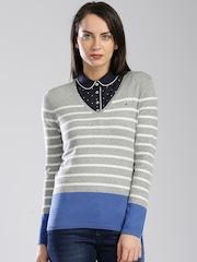 Tommy Hilfiger Women Grey Striped Sweater