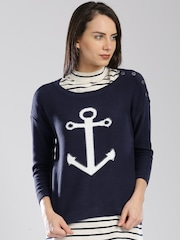 Tommy Hilfiger Women Blue Solid Sweater