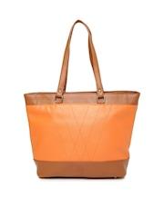 DressBerry Orange & Brown Colourblocked Shoulder Bag