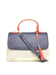 Mast & Harbour Cream-Coloured Colourblocked Satchel with Sling Strap