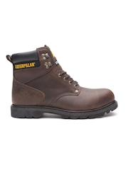 CAT Men Coffee Brown Second Shift Steel Toe Leather Boots