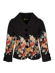 CUTECUMBER Girls Black Floral Print Coat