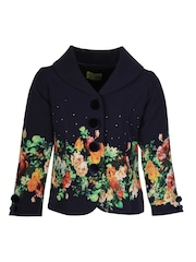 CUTECUMBER Girls Navy Floral Print Coat