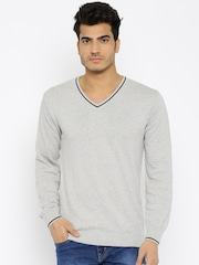 People Men Grey Solid Sweater