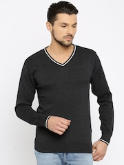 People Men Charcoal Grey Solid Sweater
