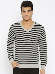 People Men Grey Striped Sweater