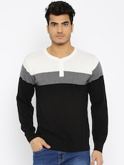 People Men Black & White Colourblocked Sweater