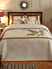 Stoa Paris Cream-Coloured Dupion Silk & Polyester Embellished Double Bed Cover Set