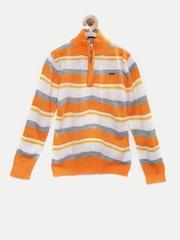 UFO Boys Orange & White Striped Sweater