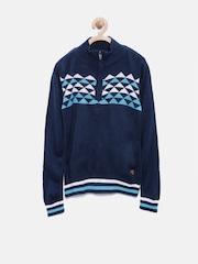 UFO Boys Navy Geometric Patterned Sweater