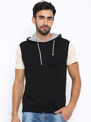 American Crew Black Sleeveless Hooded Sweatshirt
