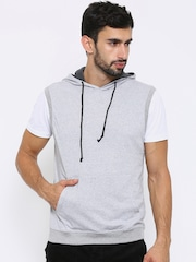 American Crew Grey Melange Sleeveless Hooded Sweatshirt